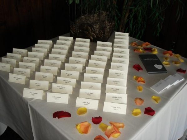 Table with guest seat cards
