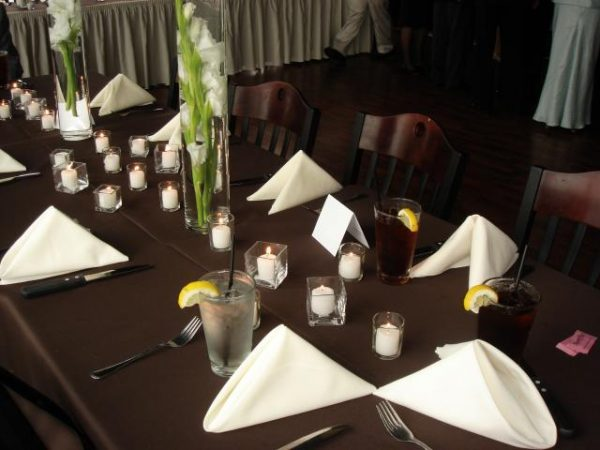 Wedding place settings with orchids