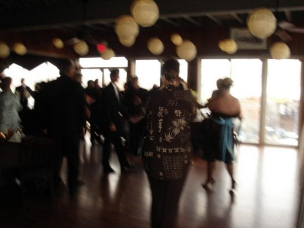 Blurry image of people dancing