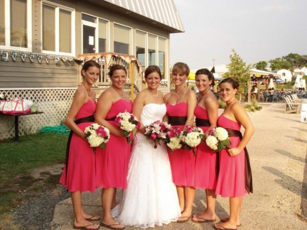 Bridal party outside of restaurant