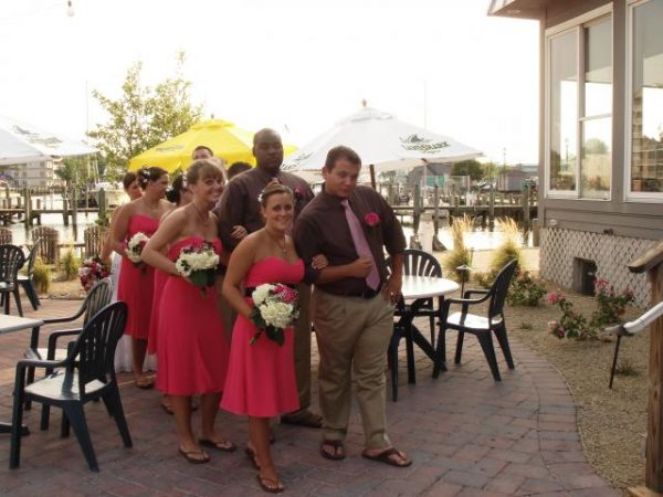 Wedding party in pink dresses