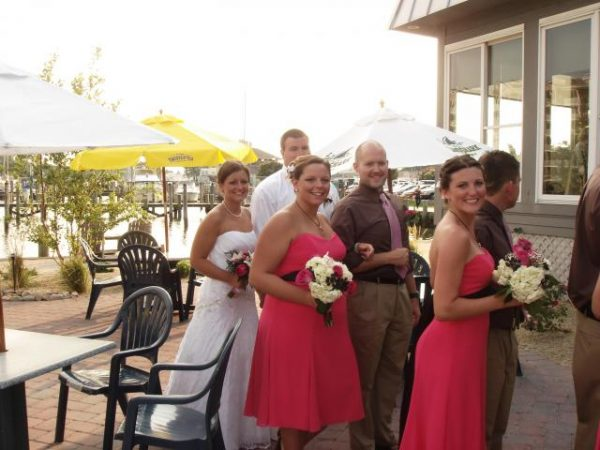 Wedding party on outdoor patio