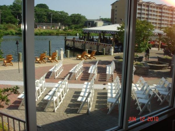 Aerial view of wedding seating
