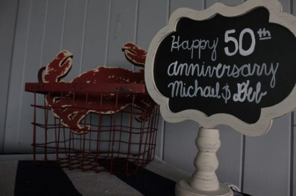 Sign saying Happy 50th Anniversary