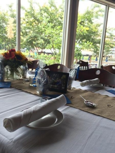 Table set with napkins rolled on plate