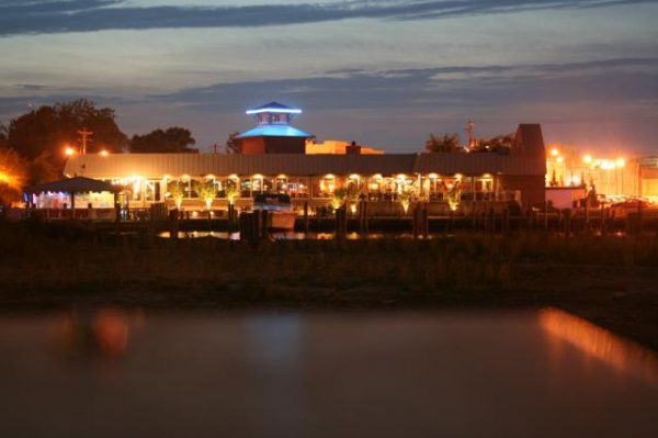 Exterior of Brew River restaurant at night