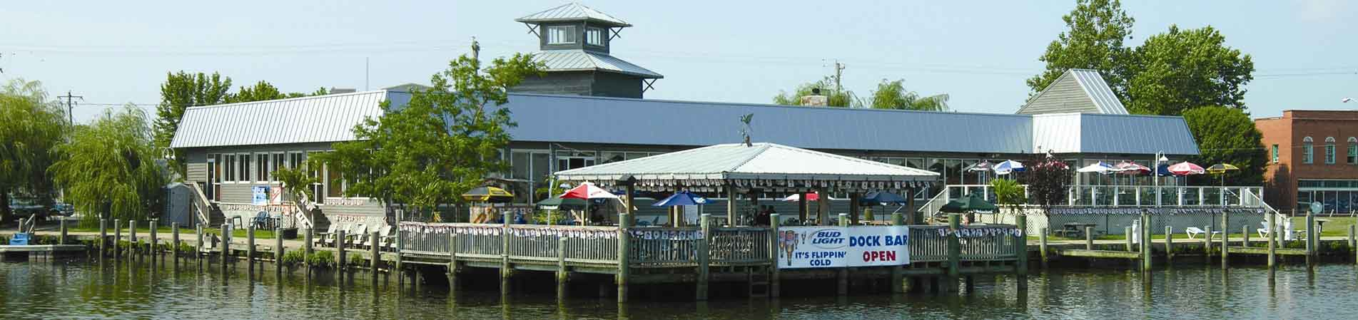 exterior of brew river restaurant